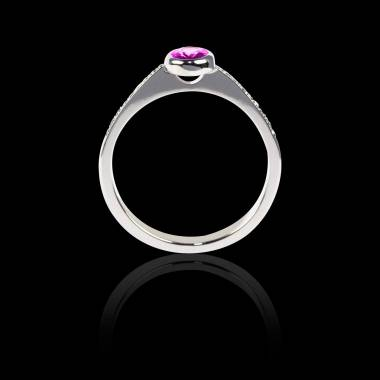 Bague Solitaire saphir rose forme ovale pavage diamant or blanc Moon