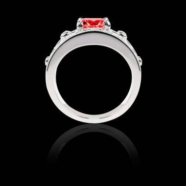 Bague Solitaire rubis forme rond pavage diamant or blanc Régina Suprema