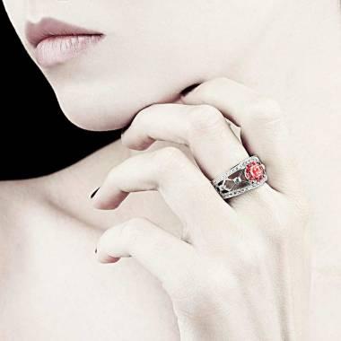 Bague de fiançailles rubis forme rond pavage diamant or blanc Régina Suprema