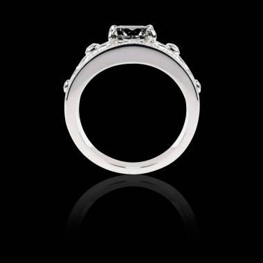 Bague Solitaire diamant noir forme rond pavage diamant or blanc Régina Suprema