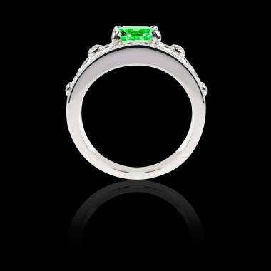 Bague Solitaire émeraude forme ronde pavage diamant or blanc Régina Suprema