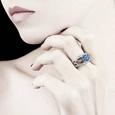Bague saphir bleu forme rond pavage diamant or blanc Régina Suprema