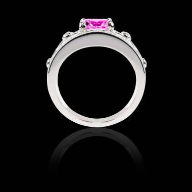 Bague Solitaire saphir rose forme rond pavage diamant or blanc Régina Suprema