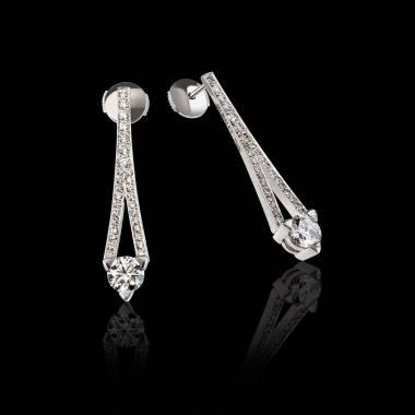 Boucles d'oreilles diamant pavage diamant or blanc Plena Luna