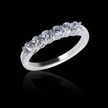 Alliance de mariage pavage diamant 0,5 carat or blanc Cassiopa