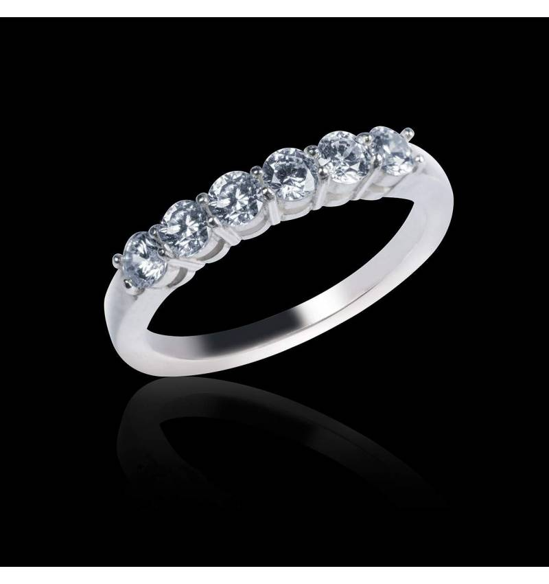 Alliance de mariage pavage diamant 0,5 carat or blanc Cassiopa