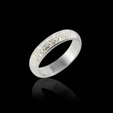 Alliance de mariage pavage diamant 0,5 carat or blanc Saturne