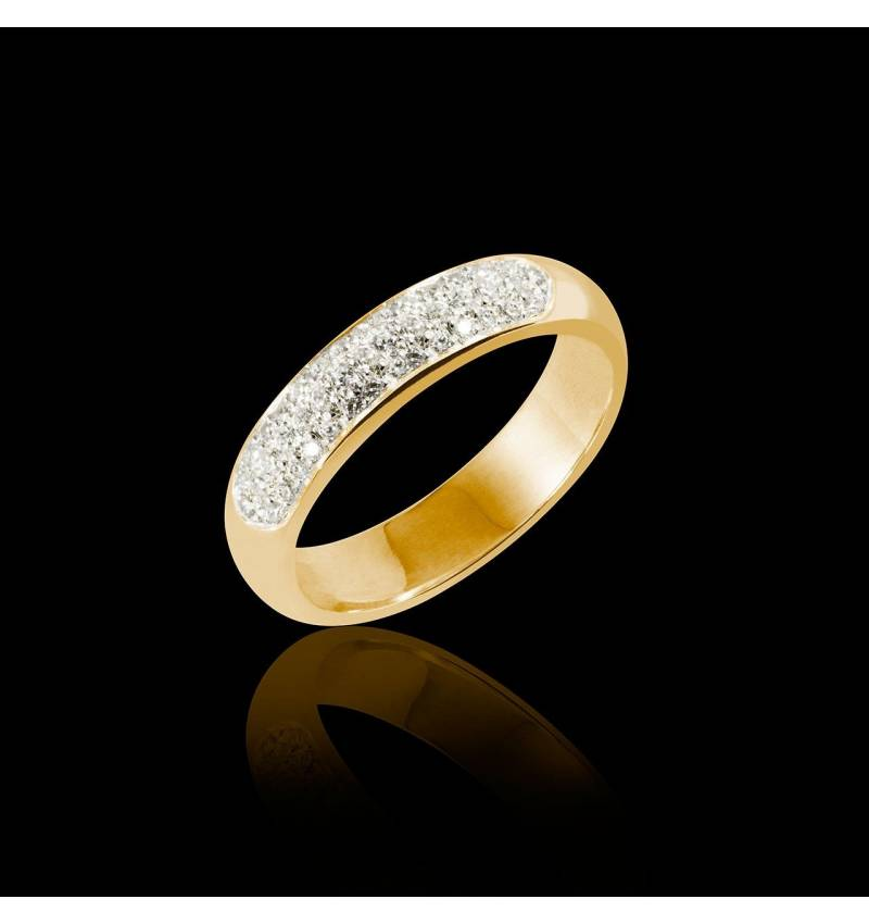 Alliance de mariage pavage diamant 0,6 carat or jaune Saturne