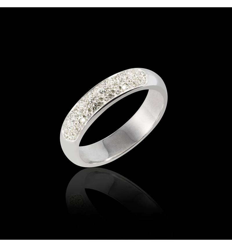 Alliance de mariage pavage diamant 0,7 carat platine Saturne