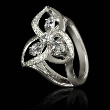 Bague de fiançailles diamant pavage diamant or blanc Estelle