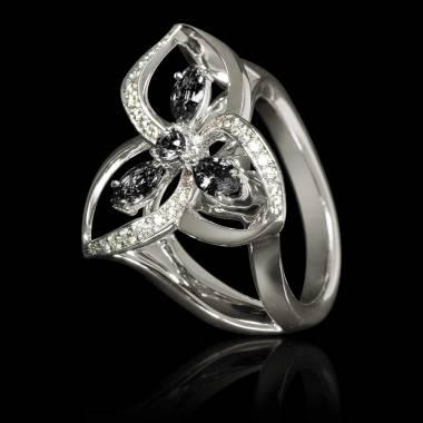 Bague de fiançailles diamant noir pavage diamant or blanc Estelle