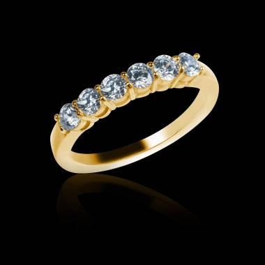 Alliance de mariage pavage diamant 0,6 carat or jaune Cassiopa
