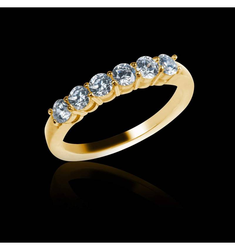 Alliance de mariage pavage diamant 0,6 carat or jaune Cassiopa