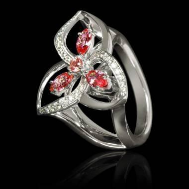 Bague de fiançailles rubis pavage diamant or blanc Estelle