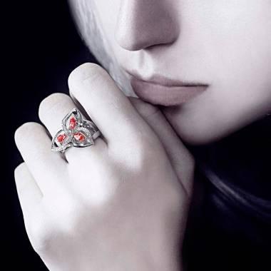 Bague rubis pavage diamant or blanc Estelle