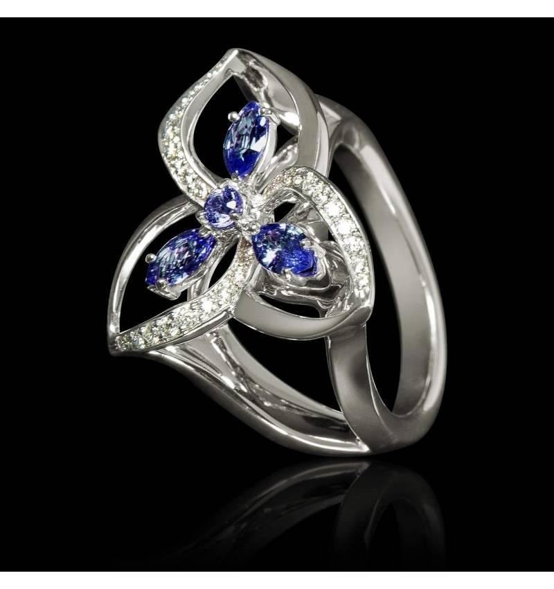 Bague de fiançailles saphir bleu pavage diamant or blanc Estelle