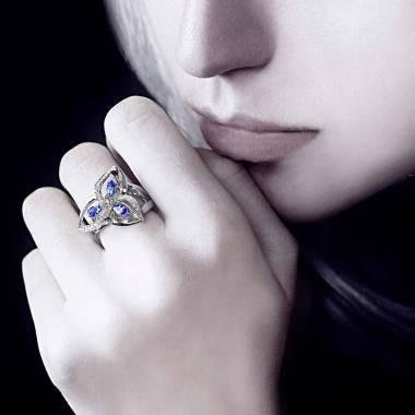 Bague saphir bleu pavage diamant or blanc Estelle