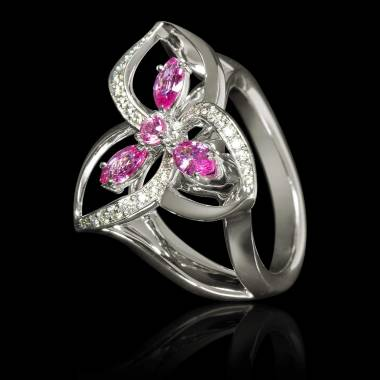 Bague de fiançailles saphir rose pavage diamant or blanc Estelle