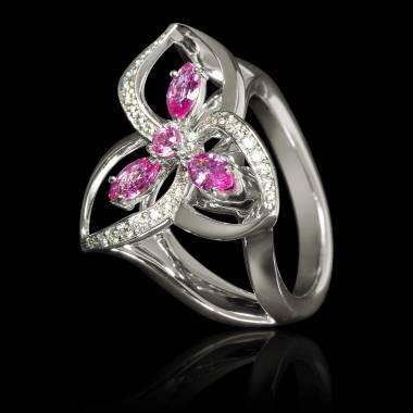 Bague de fiançailles saphir rose pavage diamant or blanc Estelle