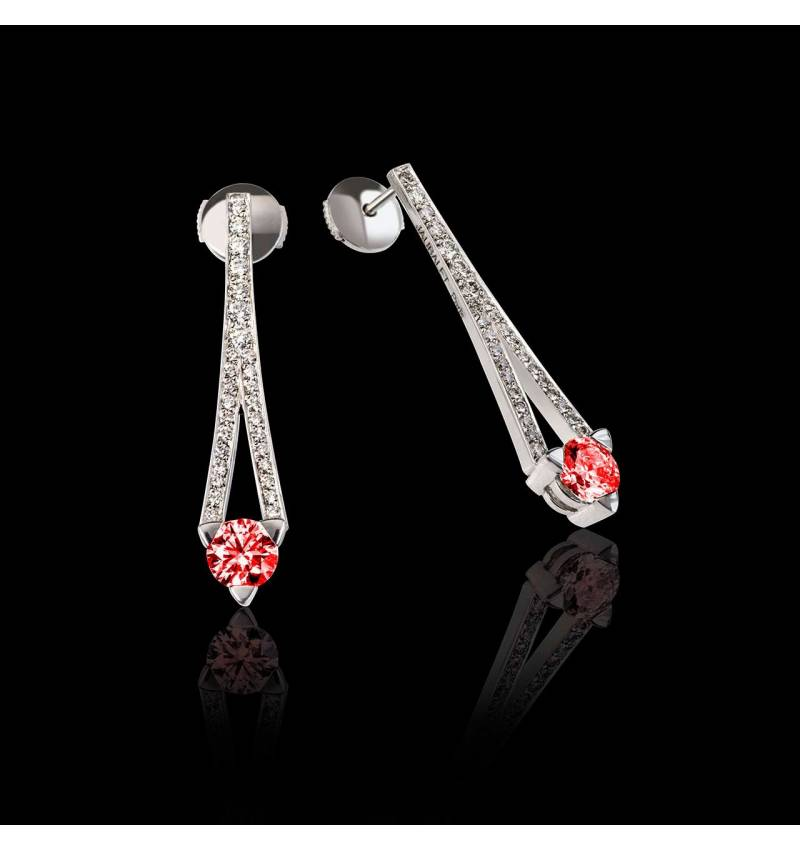 Boucles d'oreilles rubis pavage diamant or blanc Plena Luna