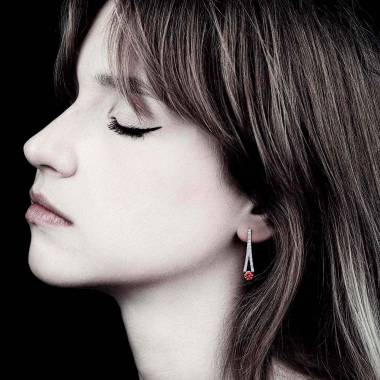 Boucles d'oreilles rubis pavage diamant or blanc Plena Luna