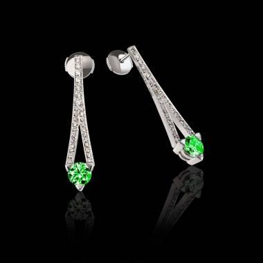 Boucles d'oreilles émeraude pavage diamant or blanc Plena Luna