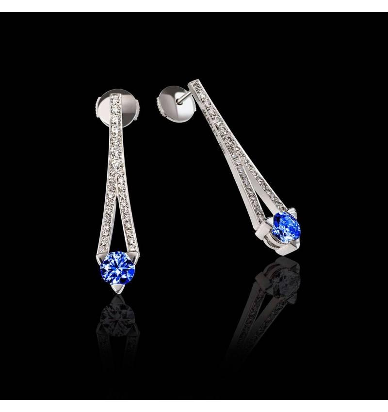 Boucles d'oreilles saphir bleu pavage diamant or blanc Plena Luna