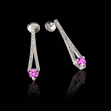Boucles d'oreilles saphir rose pavage diamant or blanc Plena Luna