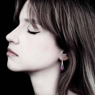 Boucles d'oreilles saphir rose pavage diamant or blanc Plena Luna
