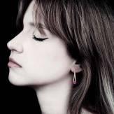 Boucles d'oreilles saphir rose pavage diamant noir en or jaune Plena Luna