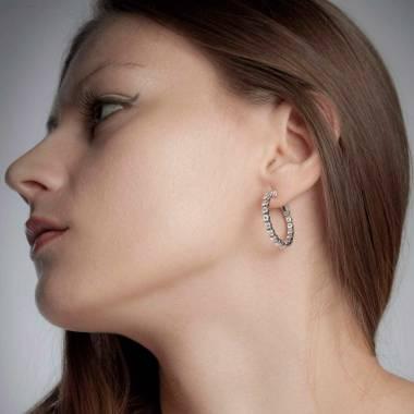 Boucles d'oreilles pavage diamant or blanc Créoles