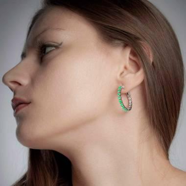 Boucles d'oreilles pavage émeraude or blanc 18K (6,6g) Créoles