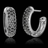 Boucles d'oreilles pavage diamant noir or blanc 18 K Mangrove