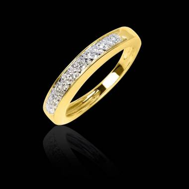 Alliance de mariage pavage diamant 0,6 carat or jaune Deliciae