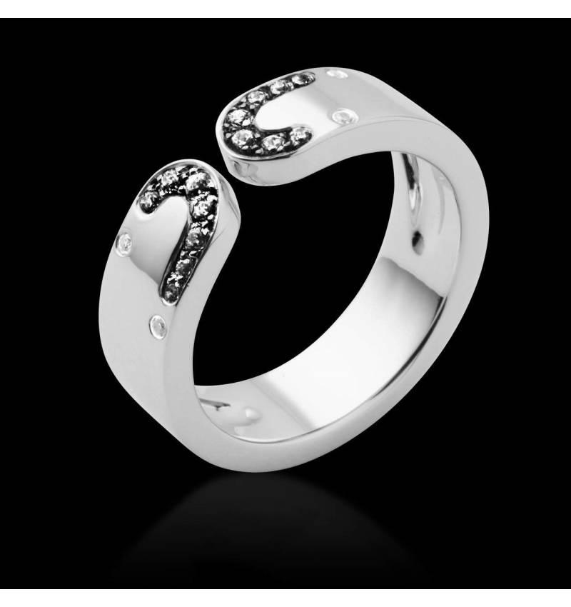 Bague de fiançailles diamant noir or blanc Séductrice