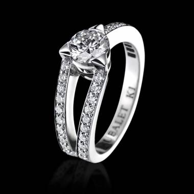 Bague de fiançailles diamant pavage diamant or blanc Plena Luna