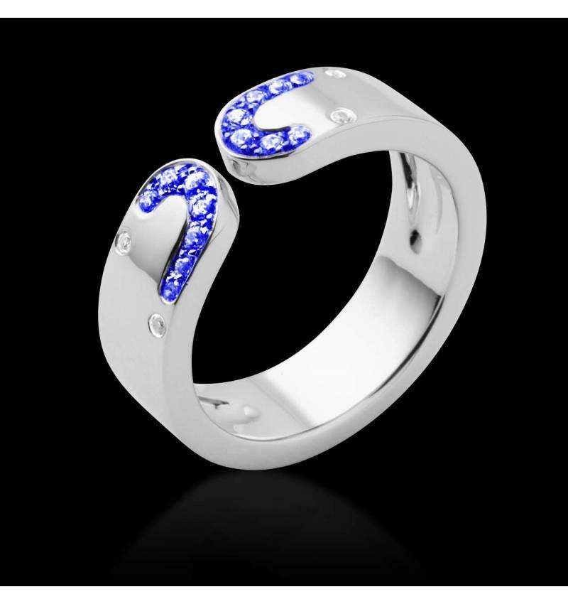 Bague de fiançailles saphir bleu or blanc Séductrice