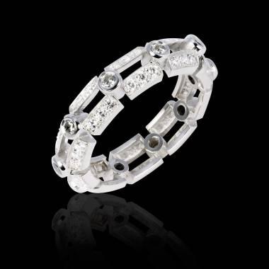 Bague de fiançailles diamant 0,5 carat pavage diamant or blanc Terre