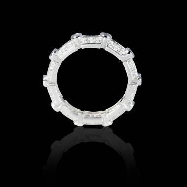 Bague Solitaire diamant 0,5 carat pavage diamant or blanc Terre