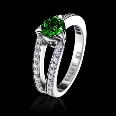 Bague de fiançailles émeraude pavage diamant or blanc Plena Luna