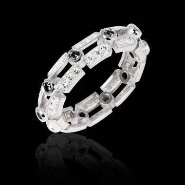 Bague de fiançailles diamant noir 0,6 carat pavage diamant or blanc Terre