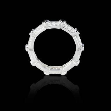 Bague Solitaire diamant noir 0,6 carat pavage diamant or blanc Terre