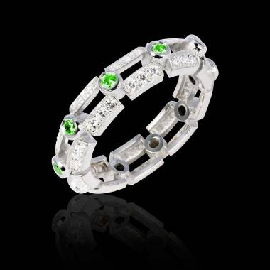 Bague de fiançailles émeraude 0,7 carat pavage diamant or blanc Terre