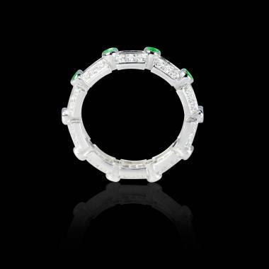 Bague Solitaire émeraude 0,7 carat or pavage diamant blanc Terre