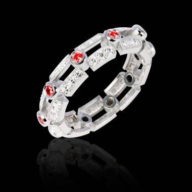 Bague de fiançailles rubis 0,8 carat pavage diamant or blanc Terre