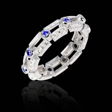 Bague de fiançailles saphir bleu 0,9 carat pavage diamant or blanc Terre