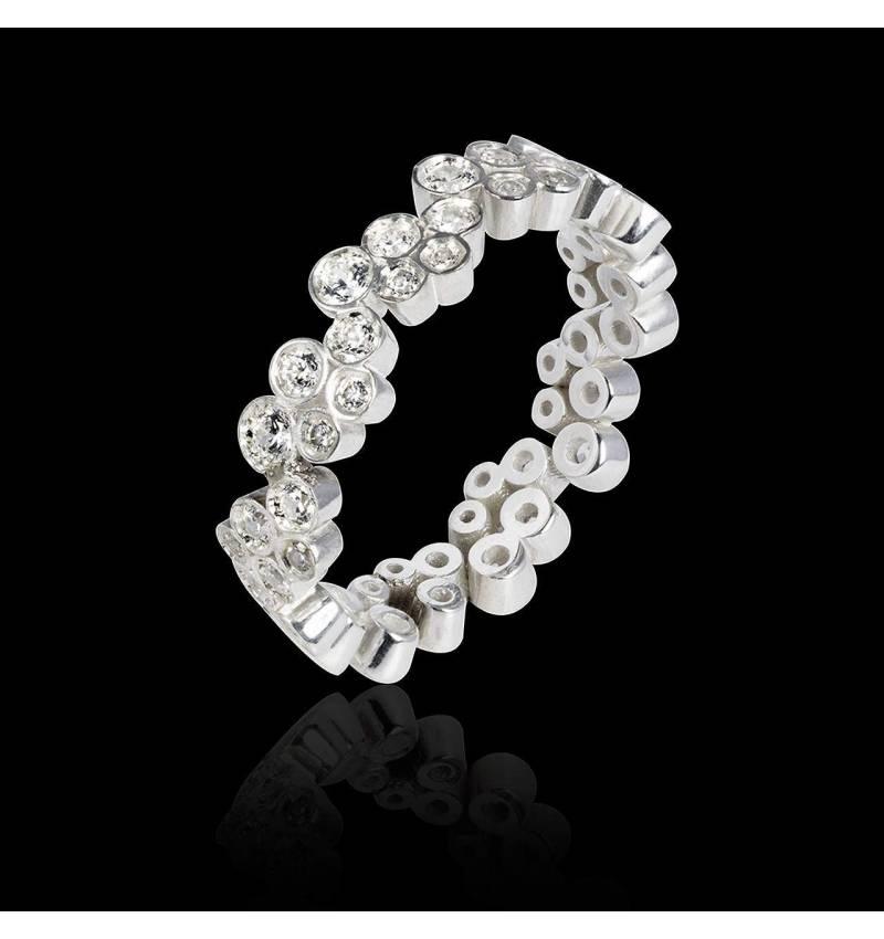 Alliance de mariage pavage diamant 0,7 carat platine Neptune