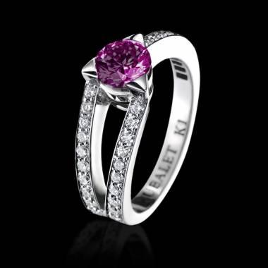 Bague de fiançailles saphir rose pavage diamant or blanc Plena Luna
