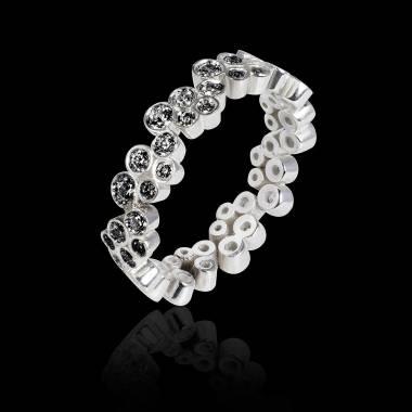 Bague de fiançailles diamant noir 0,6 carat or blanc Neptune