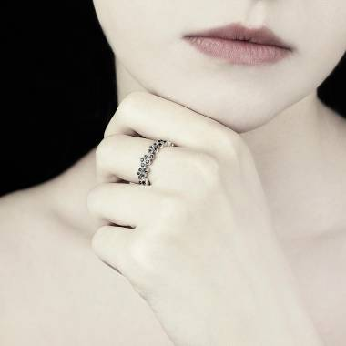 Bague diamant noir 0,6 carat or blanc Neptune